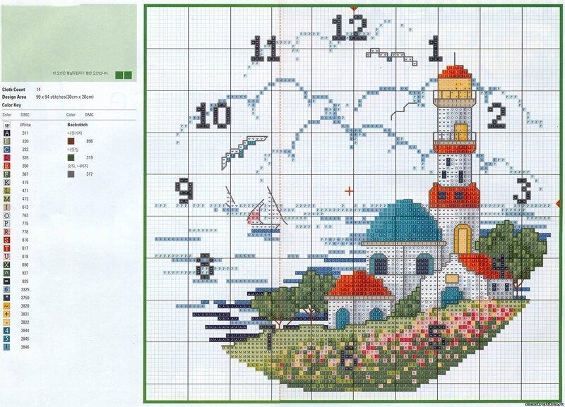 Gallery.ru / Фото #41 - Часы-схемы вышивки крестом.