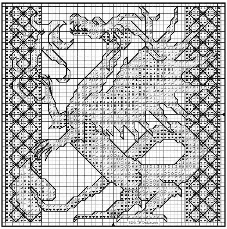 Однотонная вышивка дракона.