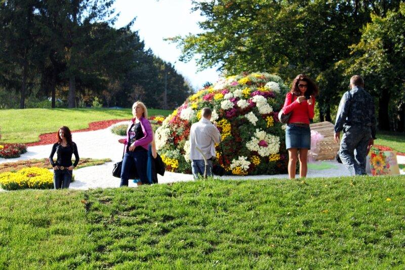 Посетители выставки хризантем