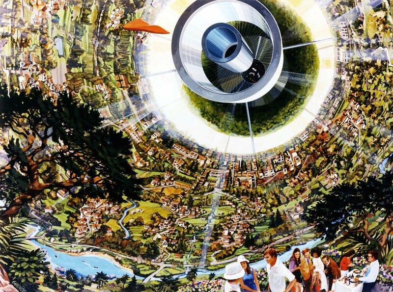 Bernal Interior. Interior including human powered flight. Art work: Rick Guidice. Credit: NASA Ames Research Center. NASA ID AC76-0628