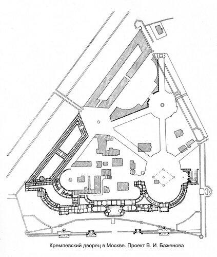План Кремлевского дворца в Москве,  архитекторы  В. И. Баженов