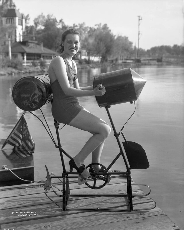 Bathing girl on peddle-water [sic] by Lake Rhoda at Lakeside Amusement Park in Lakeside (Jefferson County), Colorado, 1937 June 2