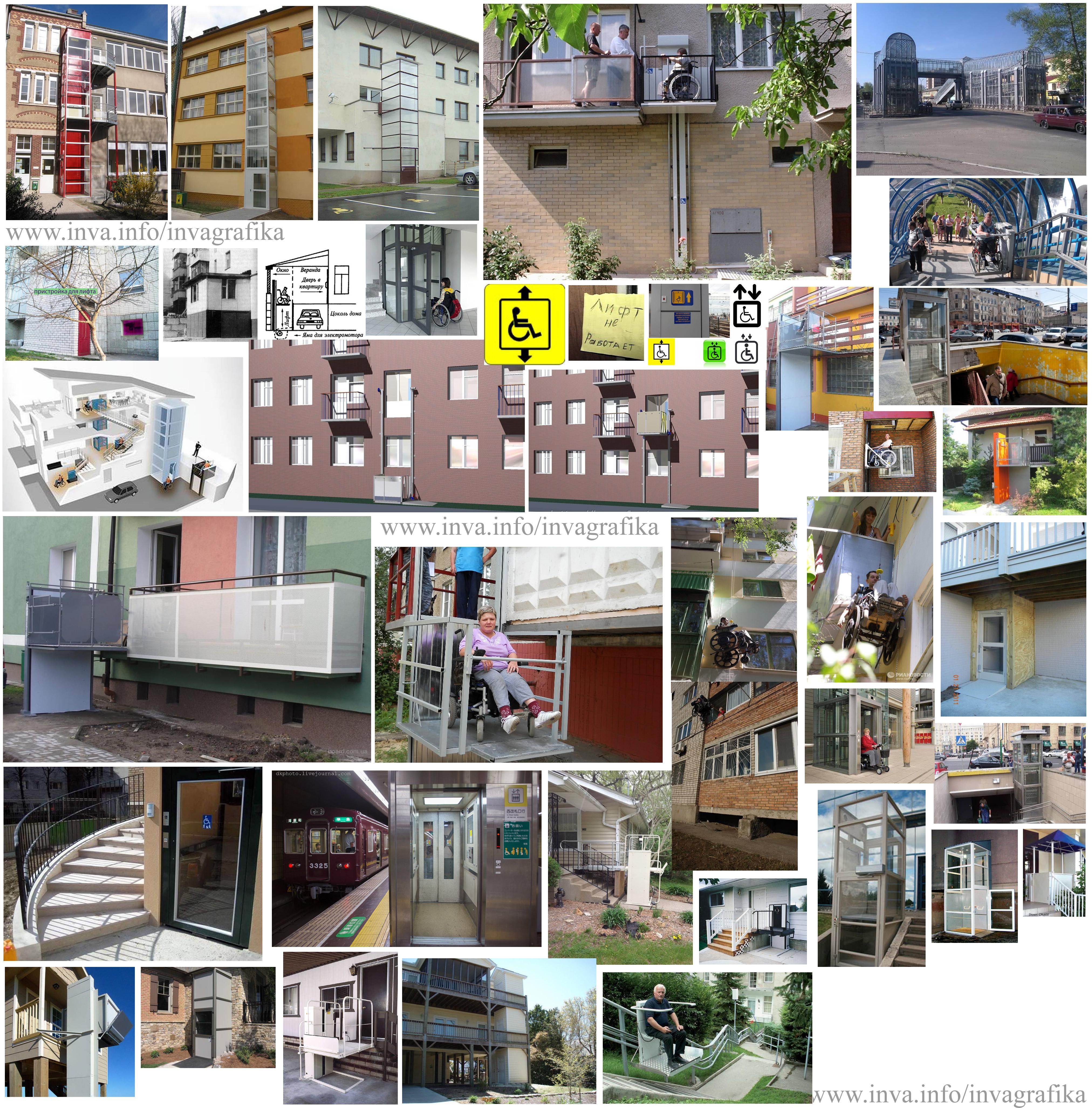 Лифты и уличные подъёмники для инвалидной коляски, подъёмно-транспортное оборудование для маломобильных граждан. С уровня земли до уровня лоджии или балкона первого этажа и выше