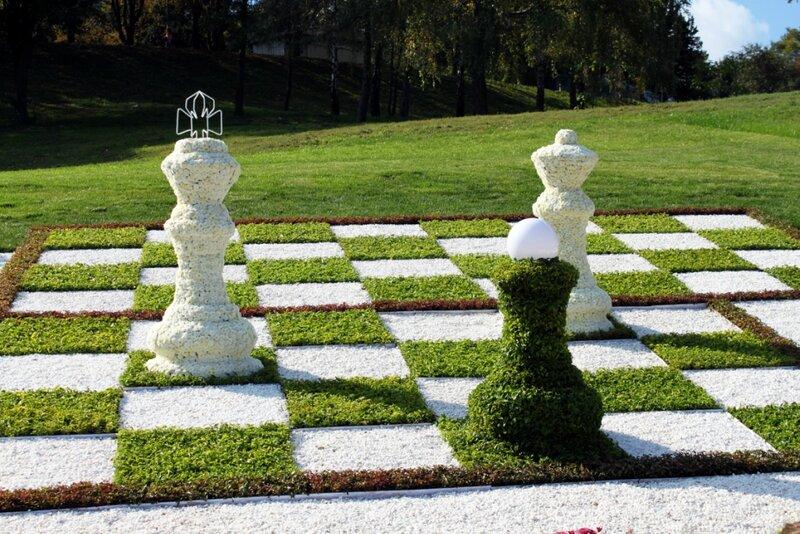 Шахматы из цветов на Певческом поле