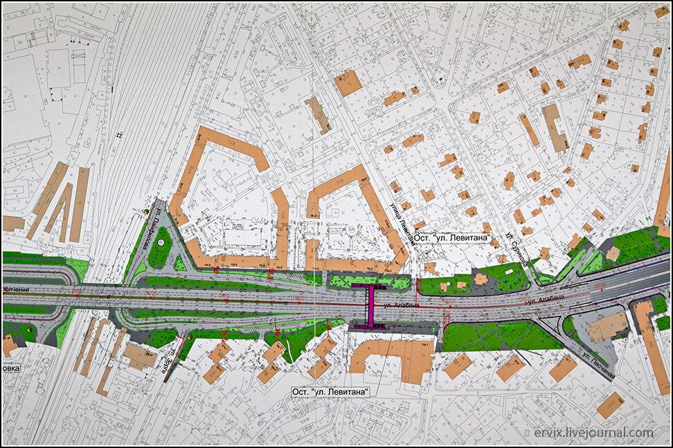 Подробный план развязки на улице Левитана