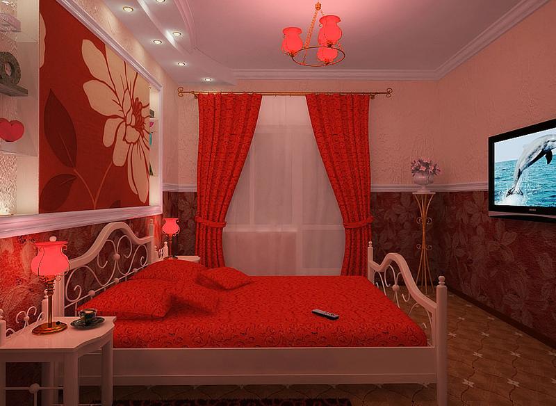 Дизайн спальни красного цвета фото