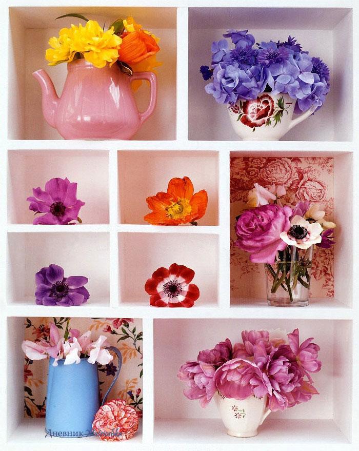 """Схема вышивки  """"Цветы на полке """": таблица цветов."""