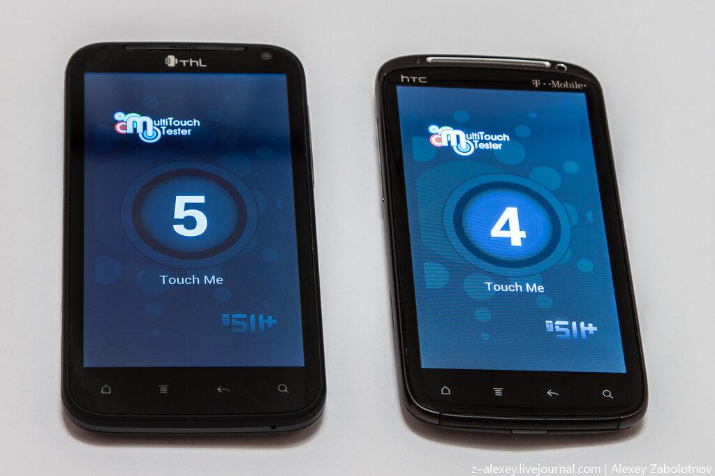 THL W3+ vs HTC Sensation- мультитач