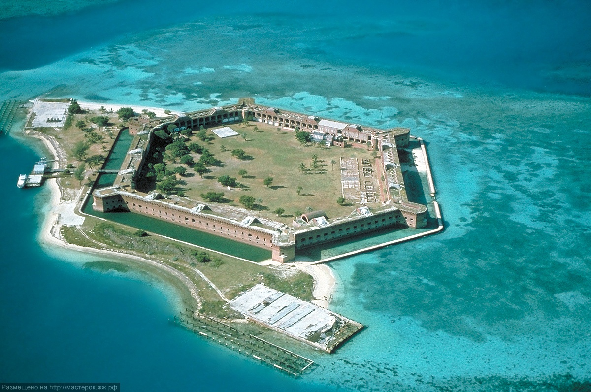 The site of Fort Jefferson, Garden Key is south of the center of the