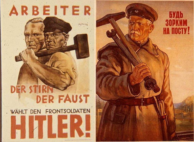 Плакаты СССР и Третьего Рейха