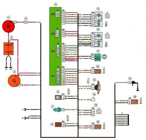 Электрическая схема ваз 2113.