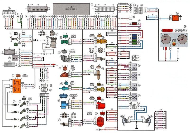 Схема электрических соединений ЭСУД ЕВРО-3 М7.9.7 LADA 21214 с двигателем 21214.