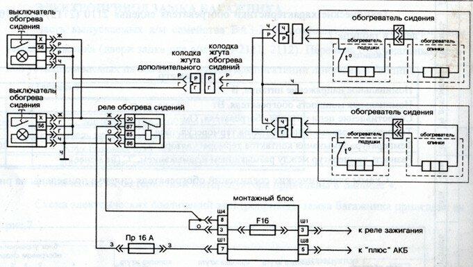 Рис.9 Схема электрических соединений обогревателя сидений на а/м BA3-21093, 099.