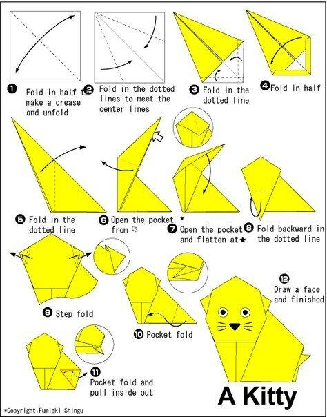 ексордиюм: как делать оригами с бумаги котенок.