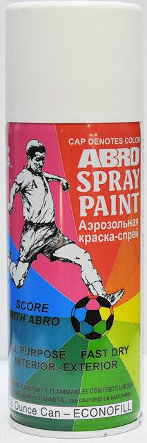 Краска спрей белая матовая РТ-017R Abro
