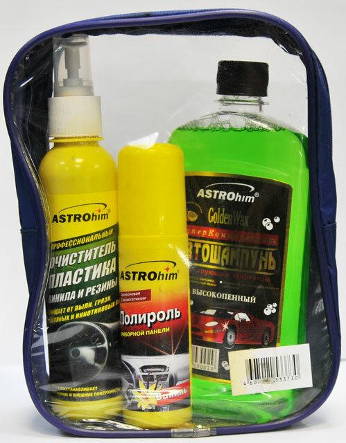 Набор для мытья машины с шампунем и полиролем Astrohim