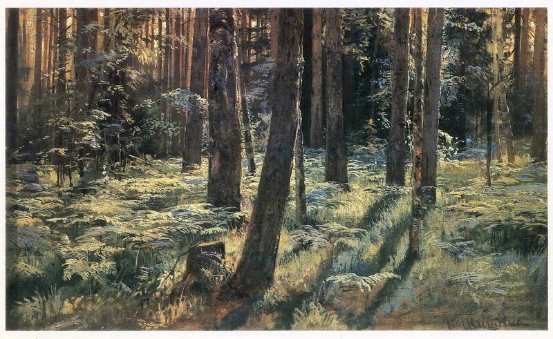 Шишкин Папоротники в лесу. Сиверская. Этюд