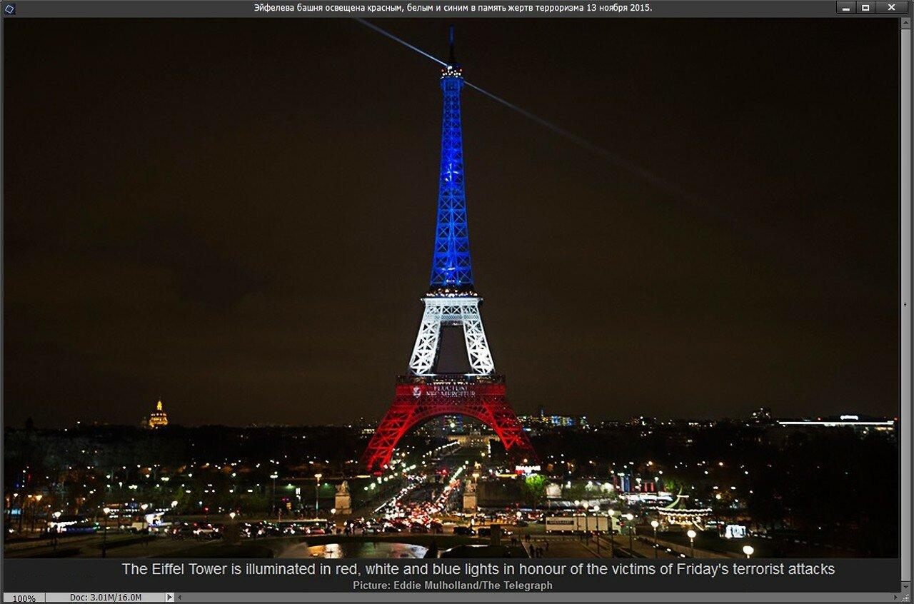 Эйфелева башня освещена красным, белым и синим в память жертв терроризма 13 ноября 2015
