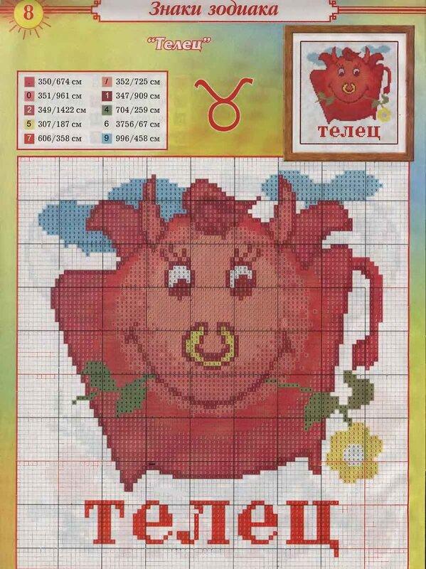 Телец - Схема для вышивания крестиком.