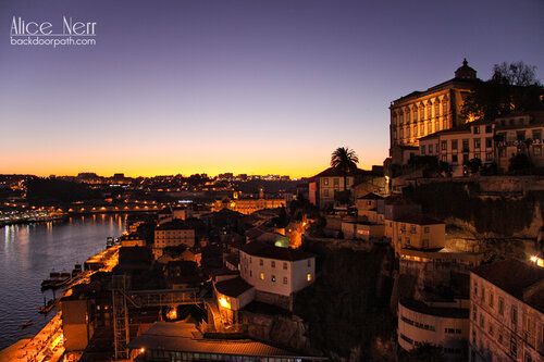 embankment in Oporto at the sunset