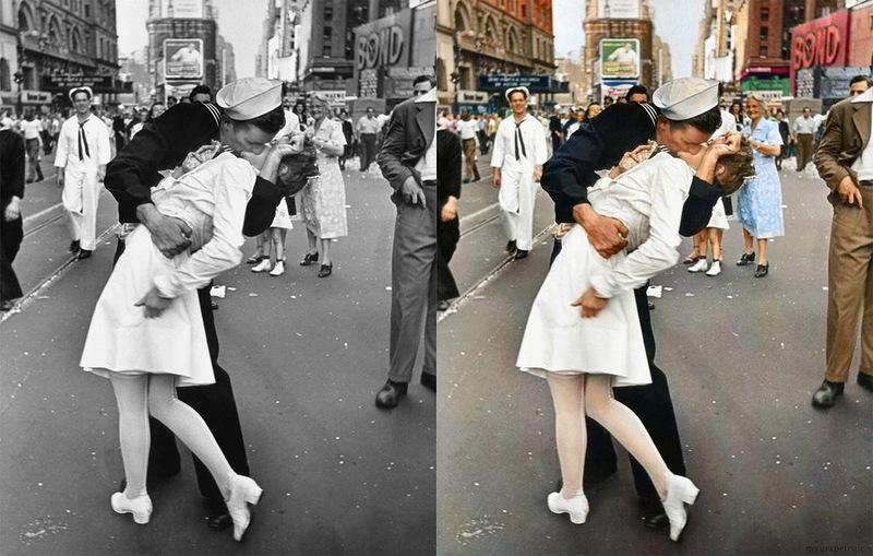 Знаменитые черно-белые фотографии в цвете