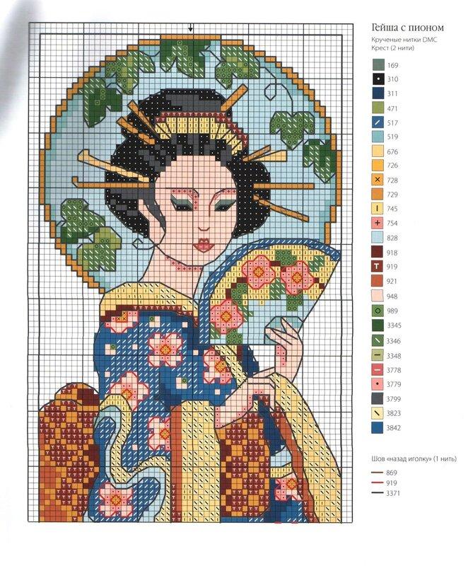 Японские красавицы. схемы для вышивки.