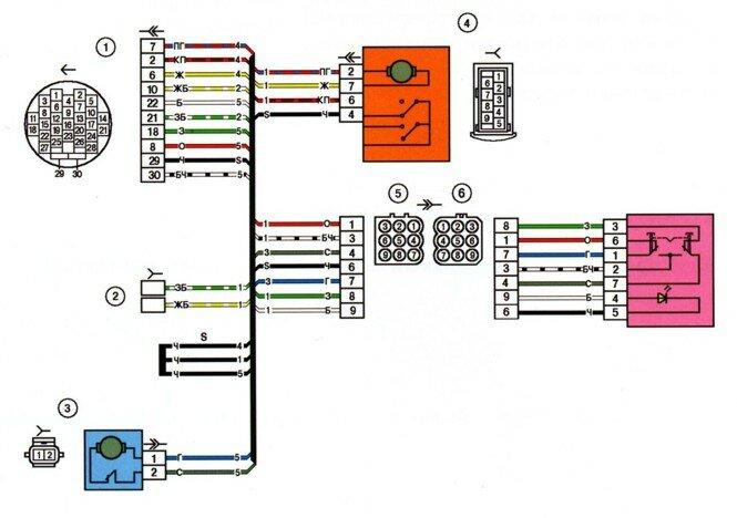 Схема электрических соединений жгута дополнительного заднего правого(правой передней двери) для автомобилей выпуска...