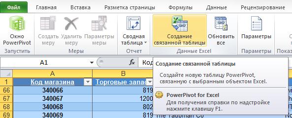 Рис. 10.14. Щелкните на кнопке Создание связанной таблицы для передани данных в PowerPivot