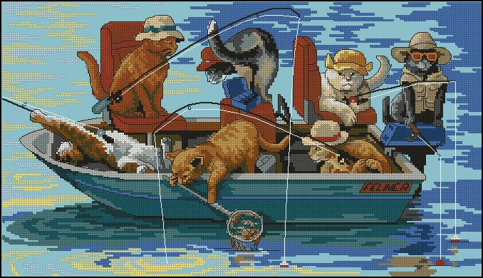 Блог.ру - pynsha - Коты на рыбалке.  Вышивка крестом, схемы.