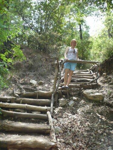 Деревянная лестница, ведущая к озеру