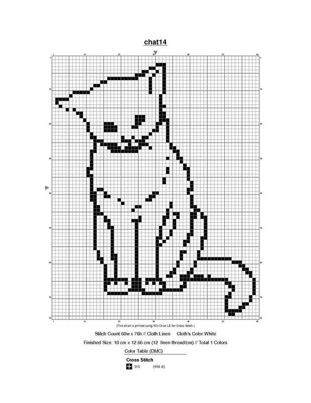 Вышивка крестом кошка простая схема