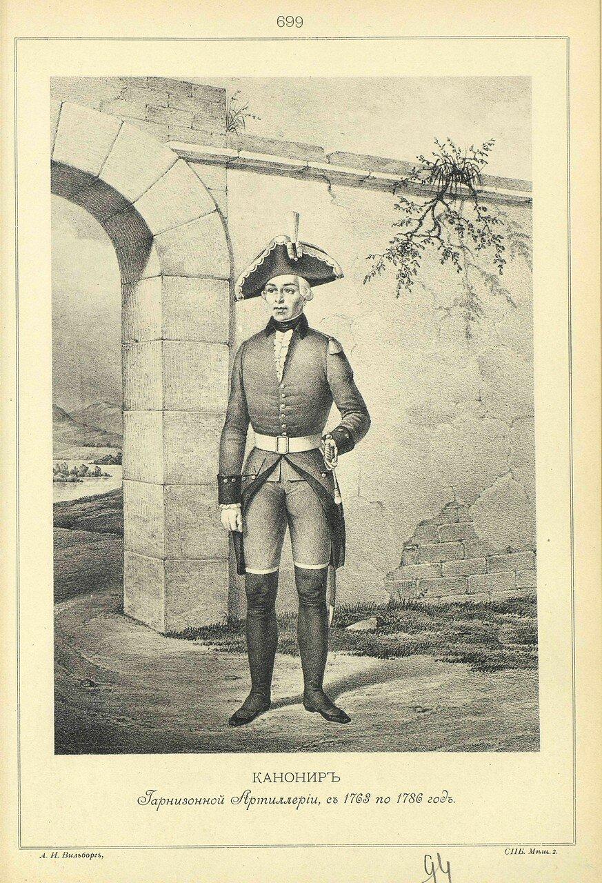 699. КАНОНИР Гарнизонной Артиллерии, с 1763 по 1786 год.