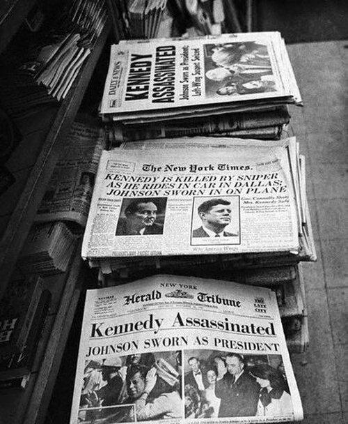 Newspaper Headlines of John F. Kennedy Assassination