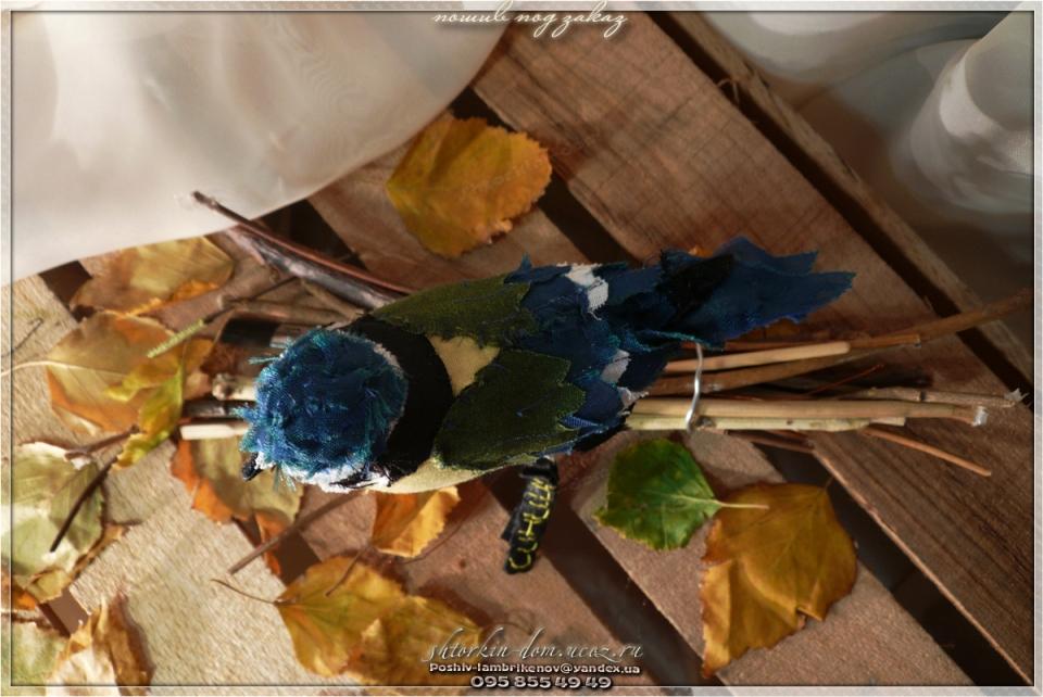 птички из ткани, текстильные птички.синица
