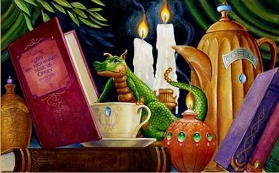 Дракончик с чашкой чая и книгой