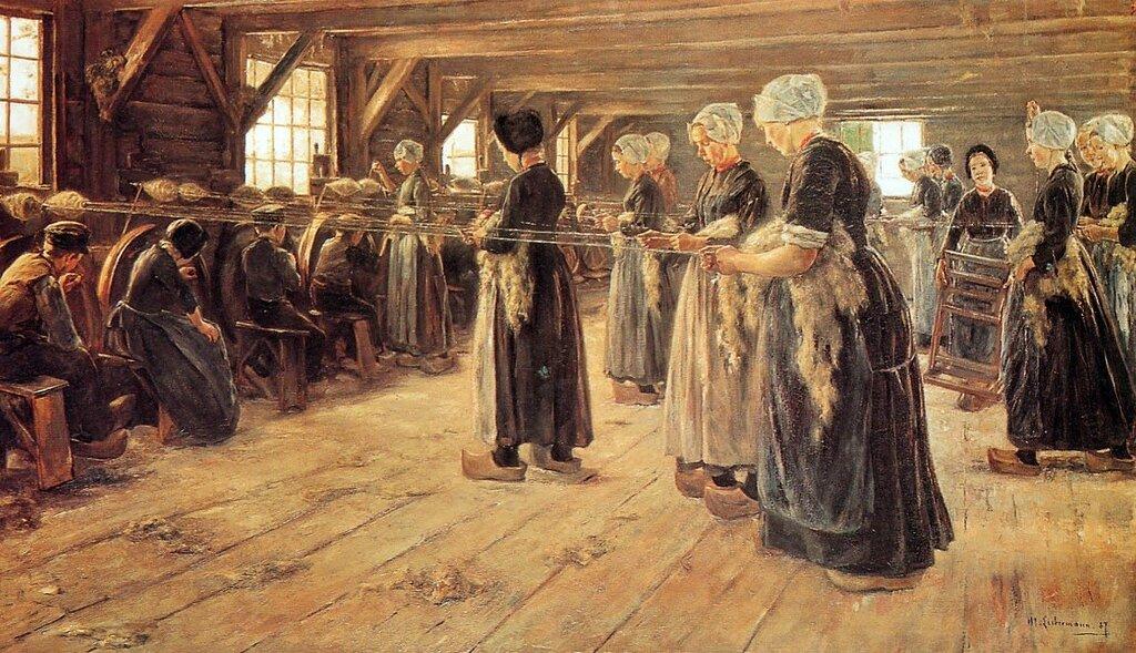 Max Liebermann - Spinning Workshop in Laren, 1889.jpg