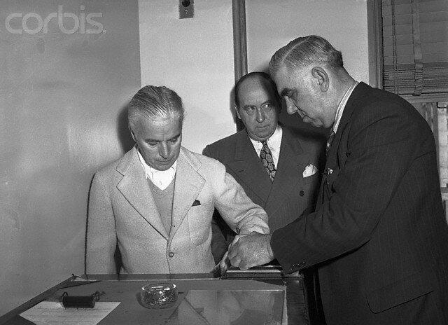 Deputy Marshal Fingerprinting Charlie Chaplin