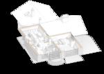 Домик в швейцарском стиле. План первого этажа с расстановкой мебели, проект жилого дома, для 10-ти спальных мест