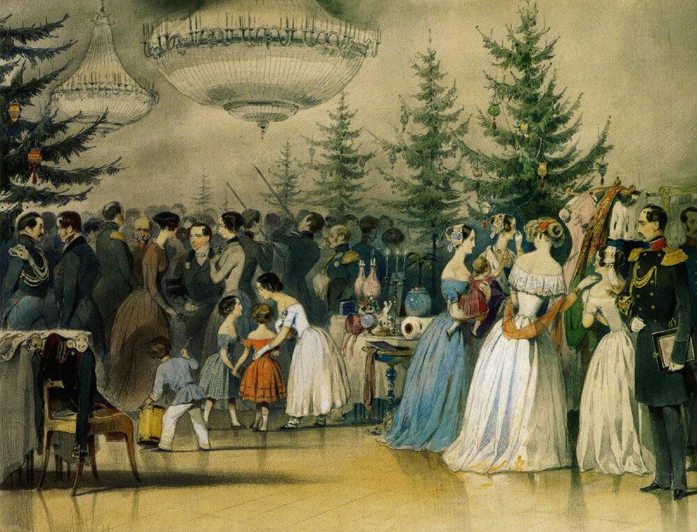 Алексей Чернышев. Рождественская ёлка в Аничковом дворце, 1840 е год.