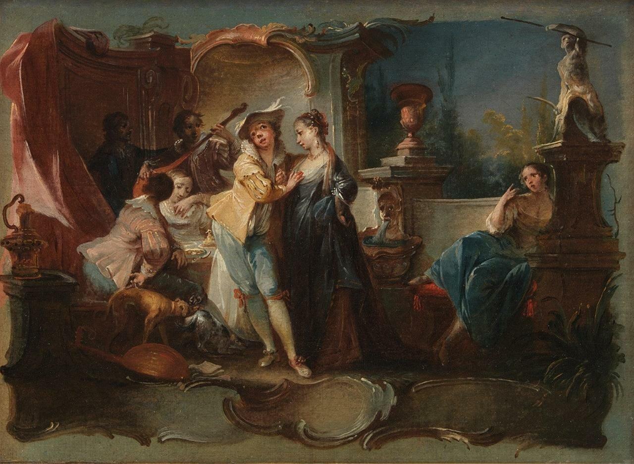 Блудный сын в компании куртизанок, Johann Wolfgang Baumgartner (1712-1761)