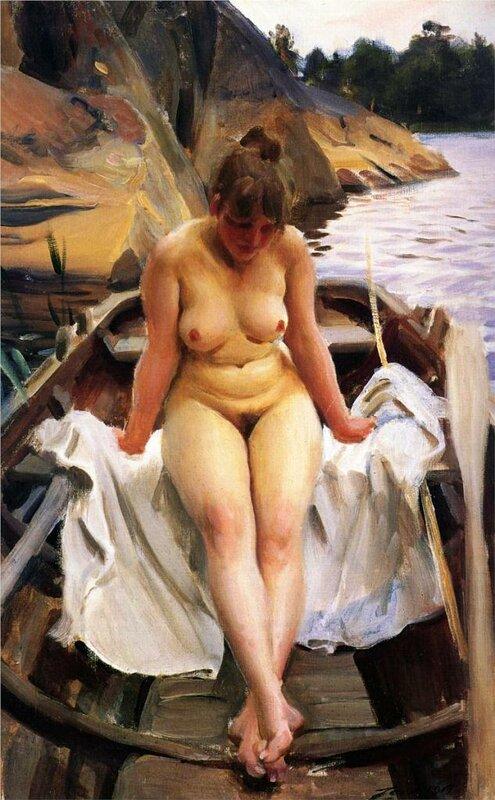 В гребной лодке Вернера, 1917 Цорн, Андерс