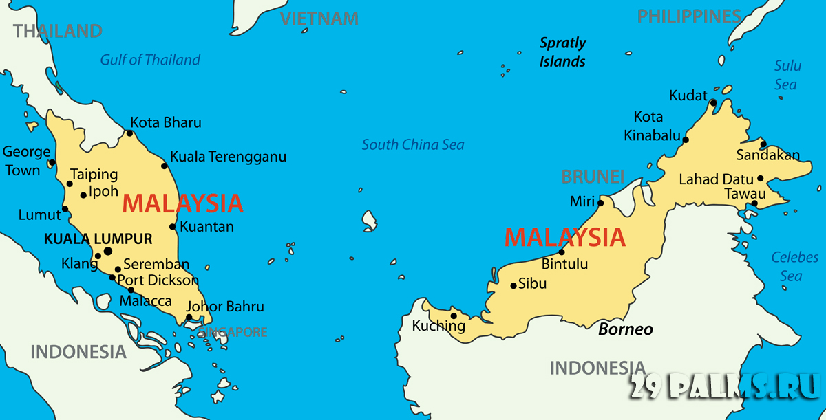 Малайзия. о.Борнео. Карта. Фото pavalena - Depositphotos