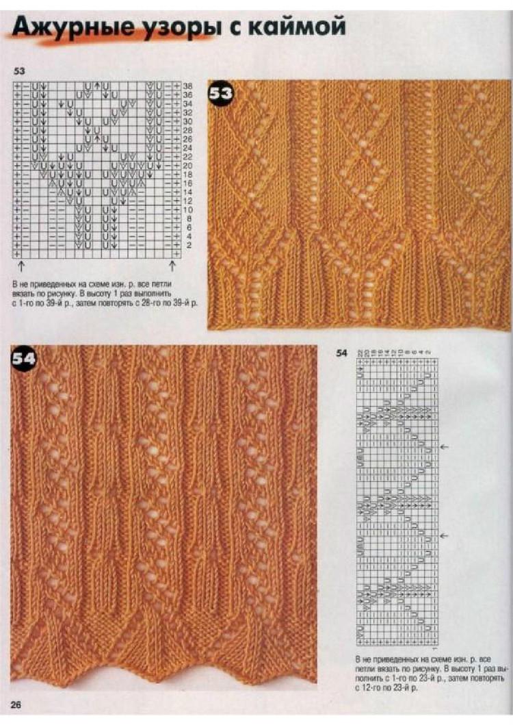 Схемы ажурные края спицы