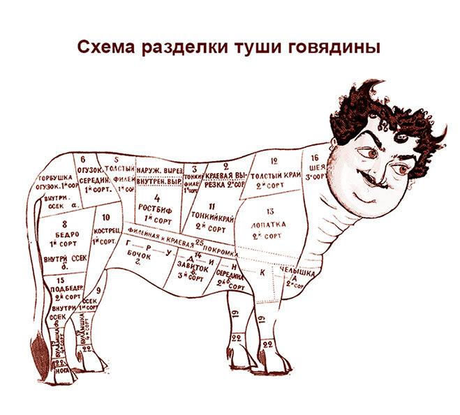Объединённые штаты Быкова. Схема разделки туши говядины