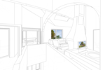 Гостиная, каминная, коридор, лестница на второй этаж, помещение с группой мягкой мебели, широкие окна, сводчатая кровля, светопроницаемые зенитные фонари, проект домика в швейцарском стиле, интерьер.