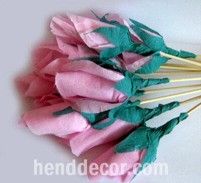 Букеты роз из бумаги и конфет своими руками 483