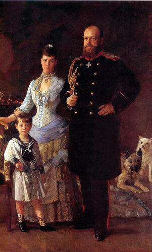 Лауритс Туксен. Император Александр III с супругой Марией Федоровной и сыном Михаилом. 1885