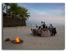 Малайзия. Лангкави. Four Seasons Resort Langkawi. Beach barbecue with bonfire