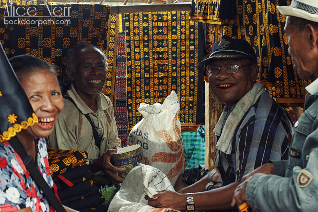 old and happy men chewing betel