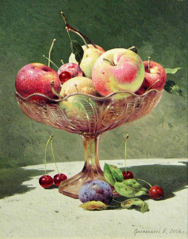 """Схема вышивки  """"Ваза с фруктами 3 """" ."""